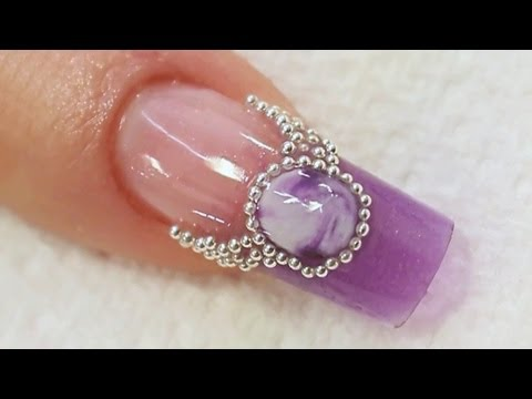 Purple Jewel Acrylic Nail Art Tutorial