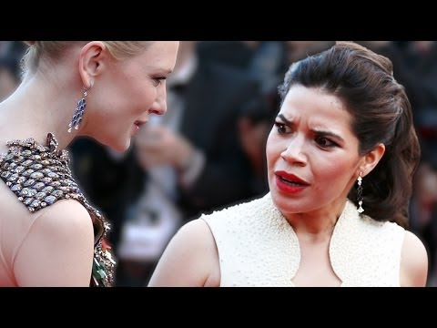 Cannes 2014 Prankster Dives Under America Ferrera's Dress