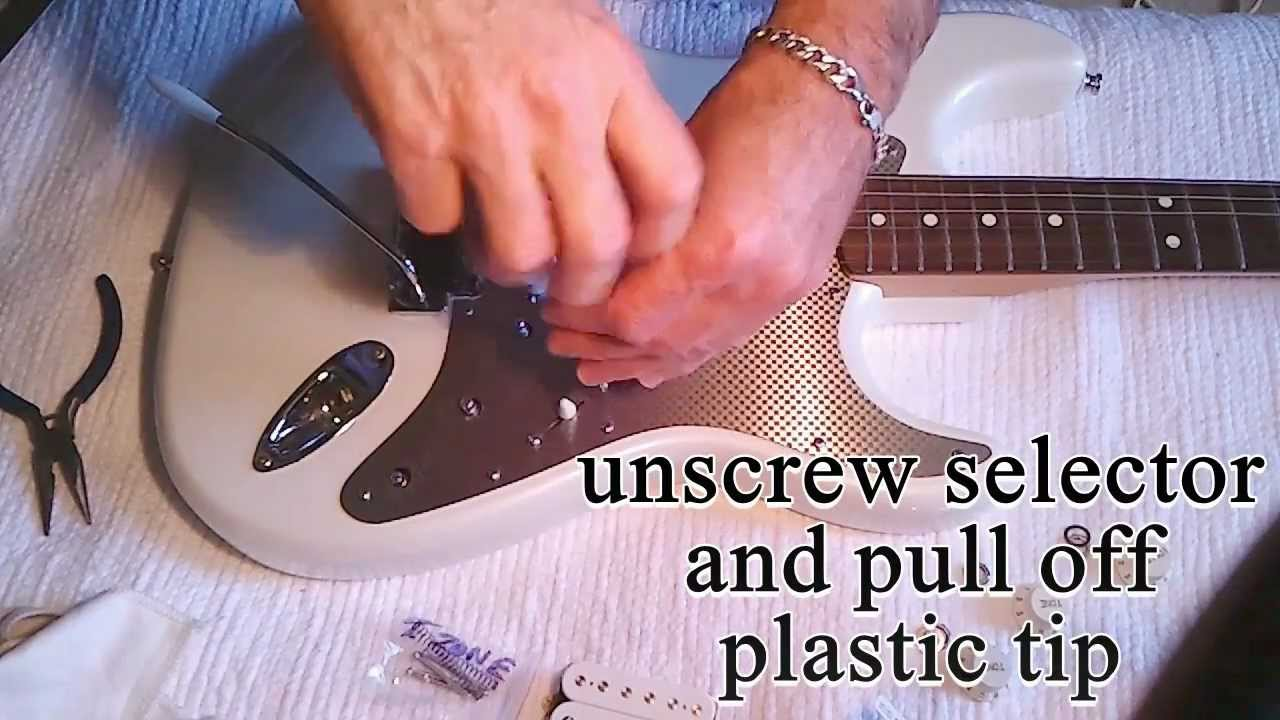 How To Easy Change A Strat Fender Pickguard  And Replace Pickup  Install Humbucker Wiring