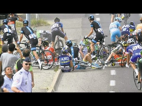 Tour De France 2014 Stage 10 Contador Crashes reaction.
