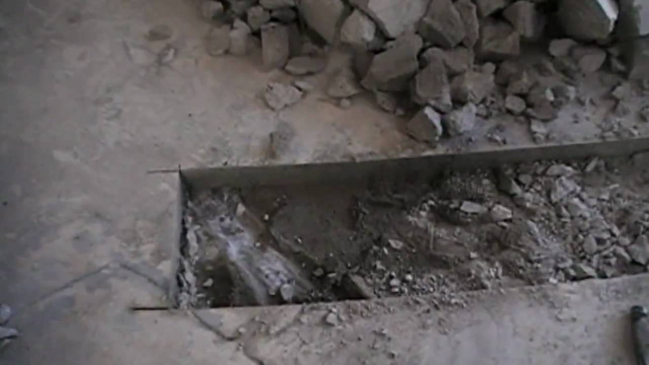 Concrete Bathroom Floor Removal : After we cut our concrete bathroom floor for
