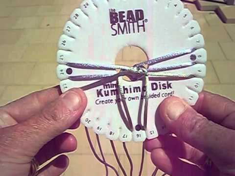 Kumihimo flat braid on round disk