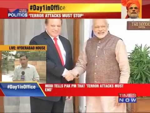 Narendra Modi meets Nawaz Sharif, talks tough
