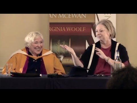 Hilary Mantel and Fay Weldon in conversation at Bath Spa University in 2013
