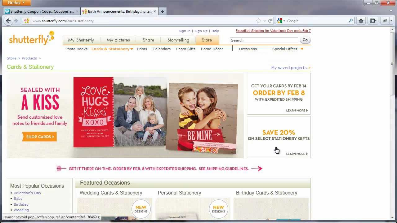 Shutterfly coupons codes