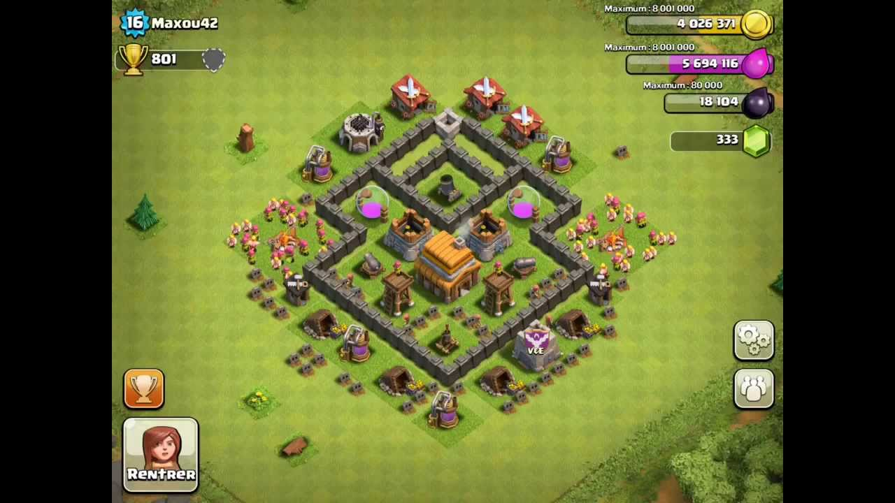 BEST Defense Base For Town Hall Level 4 - Clash Of Clans Defense