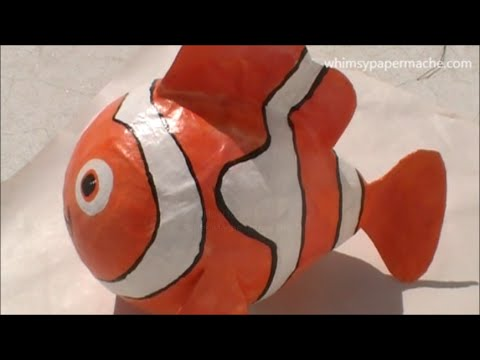 How to make a paper mache nemo clown fish youtube for How to make a sculpture out of paper mache
