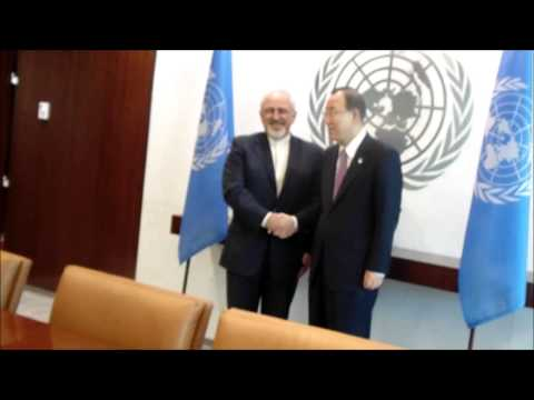 At UN, Zarif Meets Ban, Asks Brahimi If Comes to Iran Next, Ishallah's Reply, Censors Jarba Games