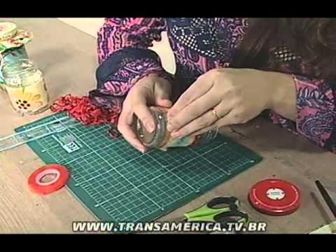 TV Transamérica - Pote de Vidro Decorado com Tecido