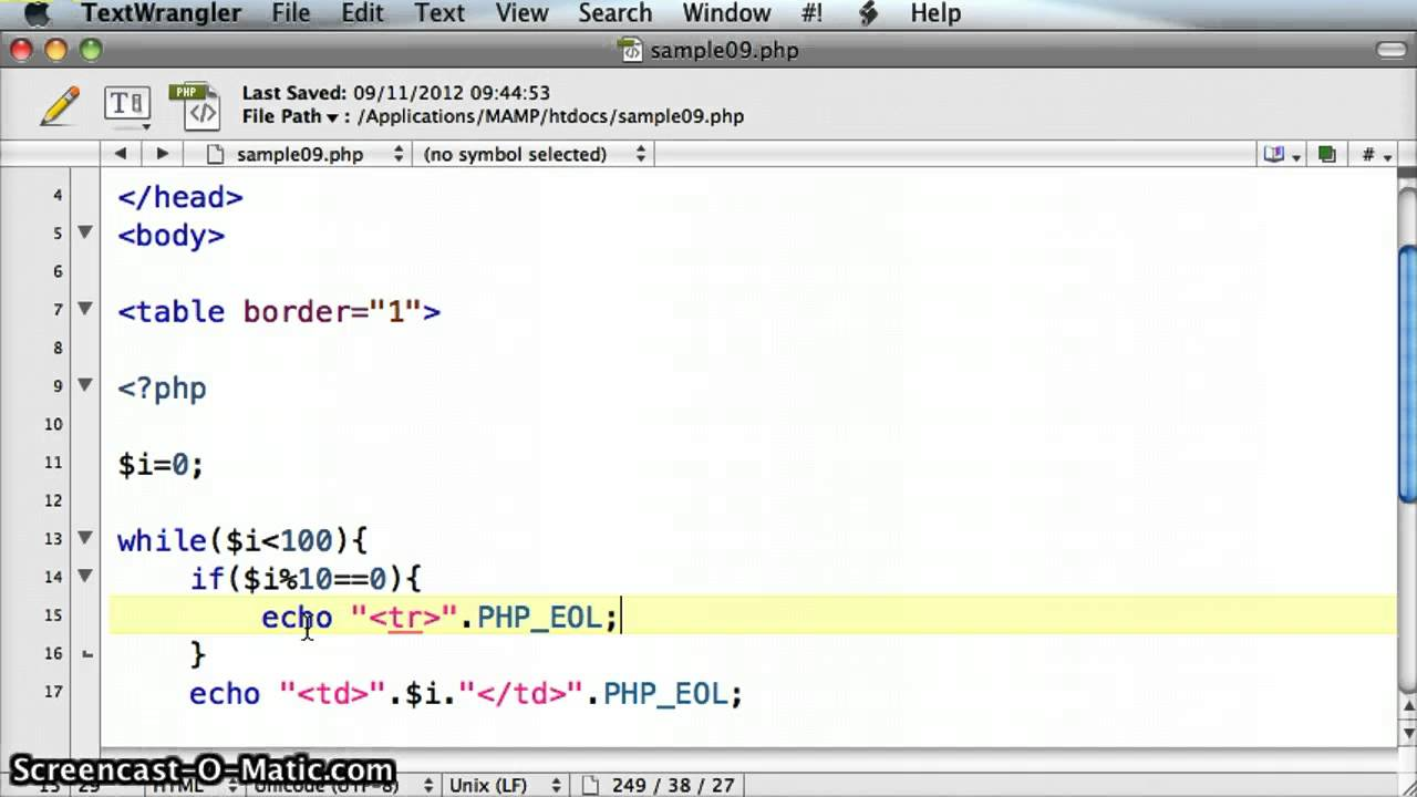 Php create html table with a while loop tutorial 09 3 for How to make a table in html