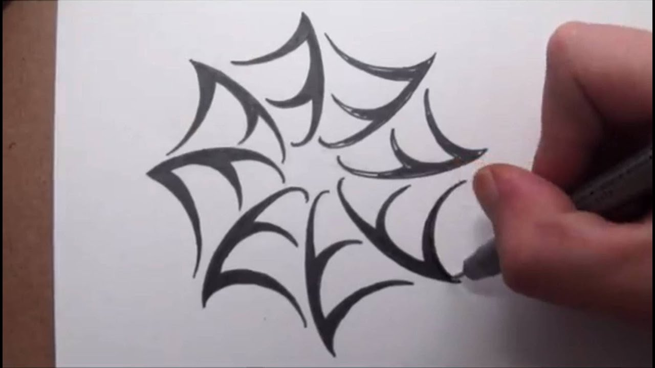 how to draw a spider web tribal tattoo design style youtube. Black Bedroom Furniture Sets. Home Design Ideas
