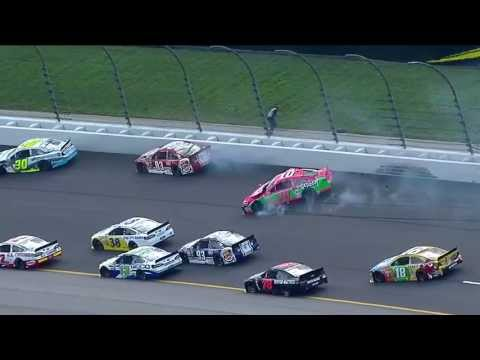 NASCAR Danica Patrick wrecks during the first lap at Kansas