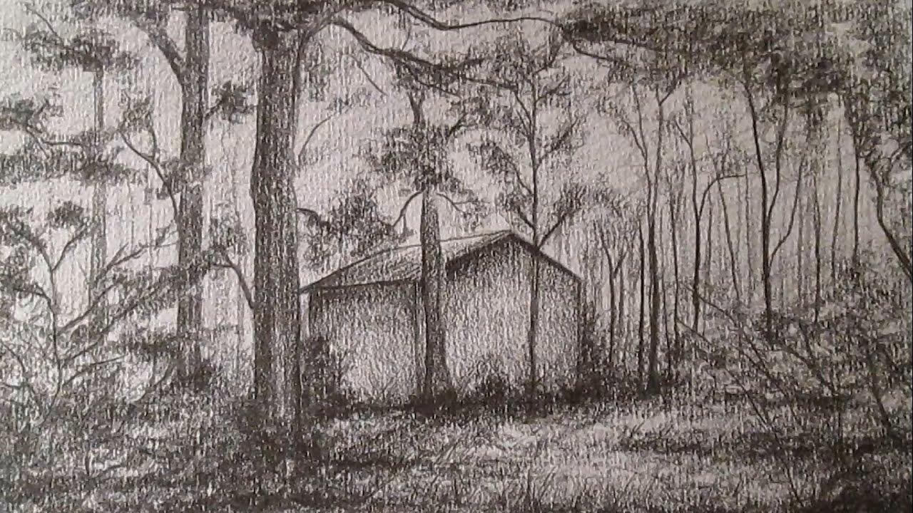 C mo dibujar un sencillo paisaje a l piz dibujo de una - Casitas en el bosque ...