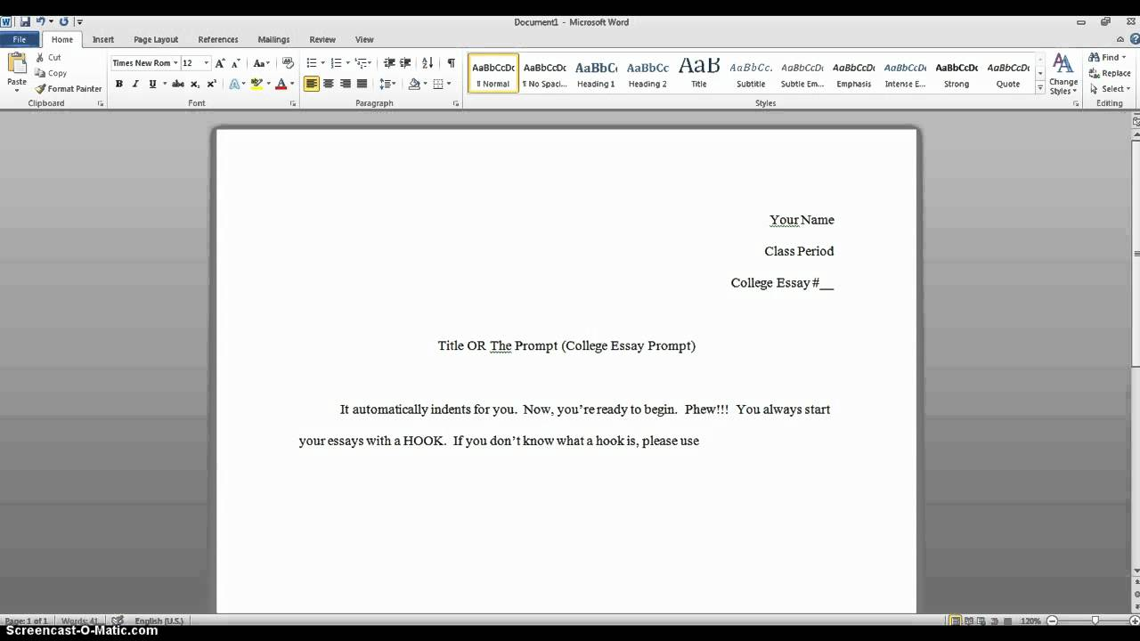 College application essay set up