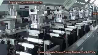 [6 colors automatic UV silk screen printing machines on softtubes] Video