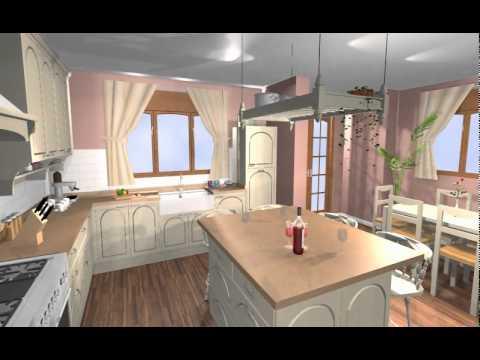 Una gran cocina en madera lacada de estilo ingles con isla - Isletas de cocina ...