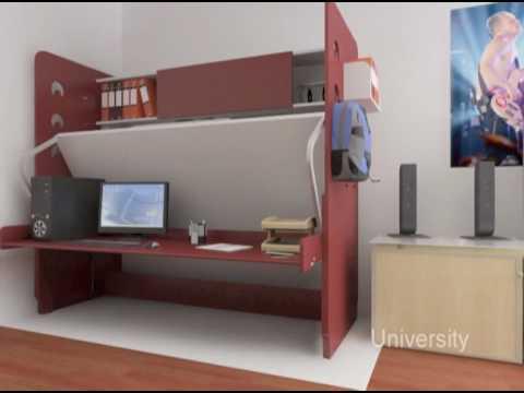 Hiddenbed Space Saving Bed Desk System Youtube