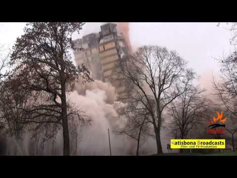 Europe's largest controlled demolition: CLOSEST camera angle on 380 ft university tower blasting