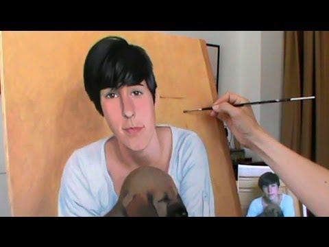 CÓMO PINTAR UN RETRATO AL ÓLEO. Chica con perrito. Painting a portrait in oils. Girl with dog