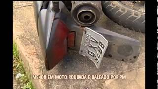 Adolescente em moto roubada � baleado por policiais em Juiz de Fora
