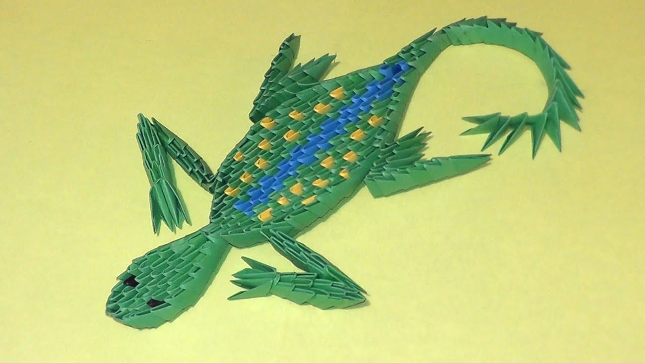 3D origami lizard instruction, tutorial, modular origami ... - photo#2