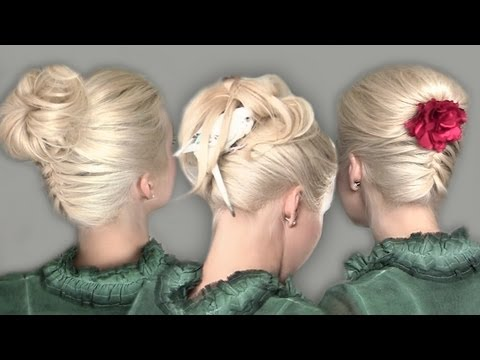 Hairstyles with upside down french braid: bun and tucked in ponytail hair tutorial