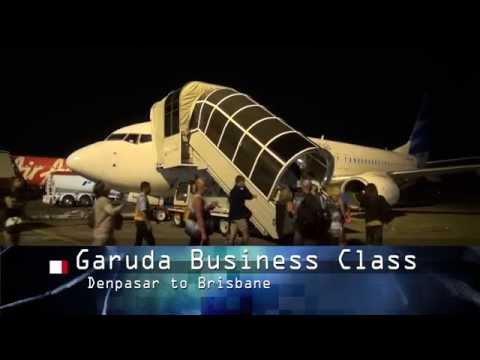 Garuda Business Class, Denpasar to Brisbane, night flight