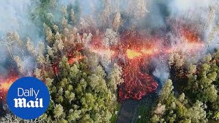 Kilauea volcano erupts molten lava and sends pink smoke into sky - Daily Mail