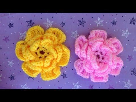 Hướng dẫn móc hoa len - Mẫu hoa hồng 3 lớp (Subtitles English)