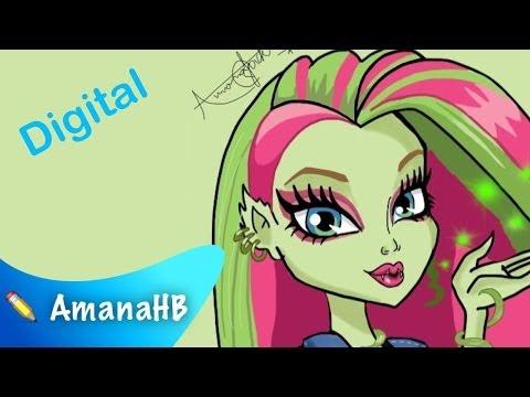 Digital Speed Drawing of Venus McFlytrap from Monster High (HD)