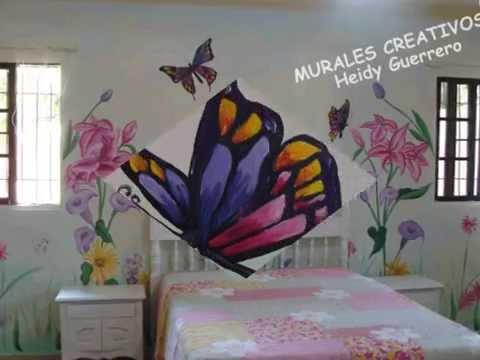 Mural de flores y mariposas decoracion habitacion paola for Mural para habitacion