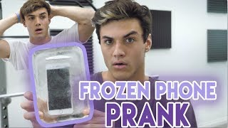 FROZE HIS PHONE IN ICE PRANK!