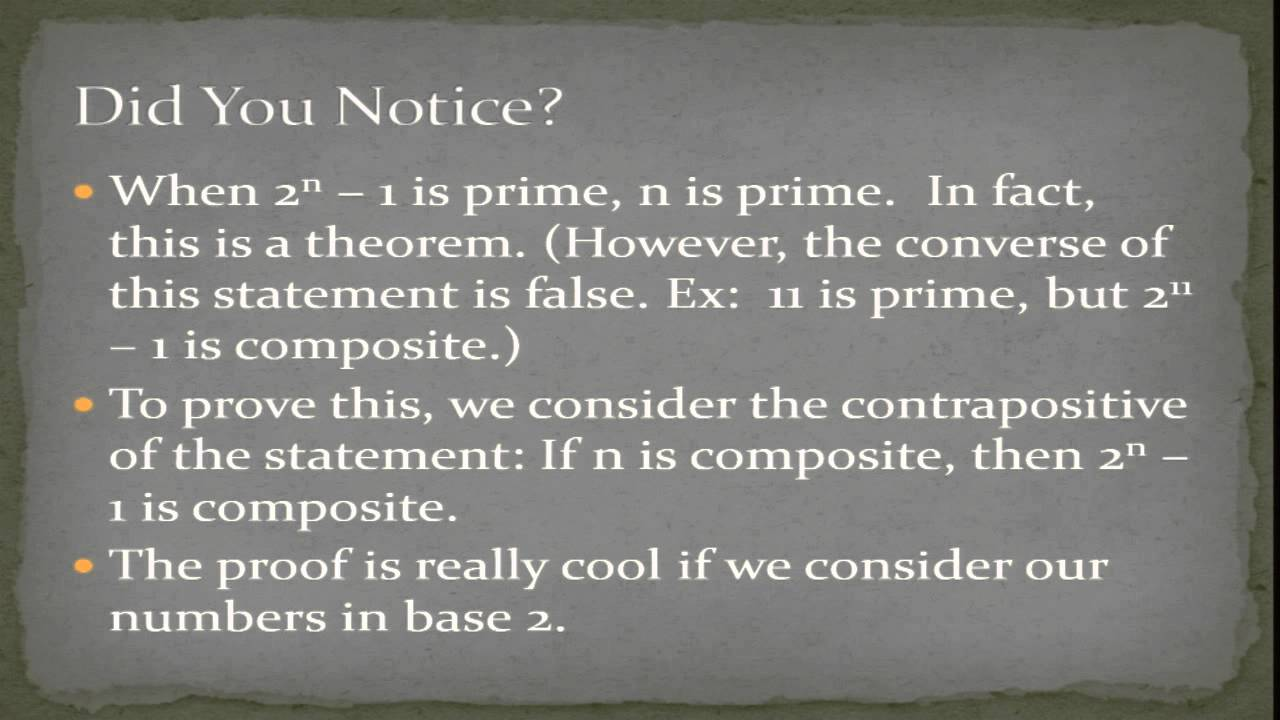 relationship between mersenne primes perfect numbers math