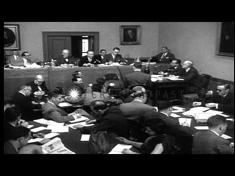 List of allegations on gangster of NY Frank Costello in front of the Kefauver Com...HD Stock Footage