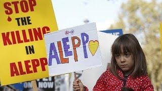 مظاهرة في لندن للمطالبة بحلّ الأزمة السورية |