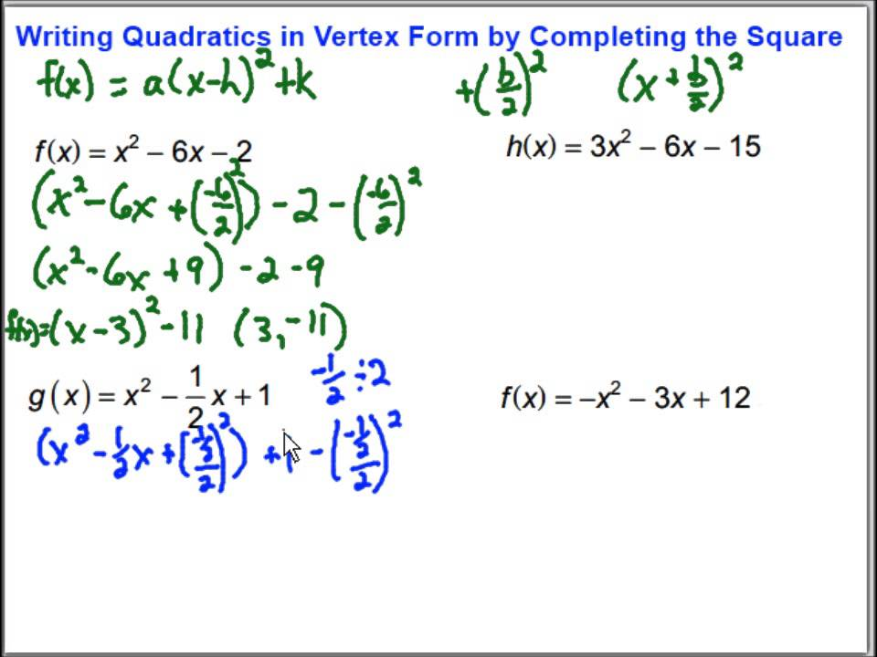 Writing Quadratic Functions in Vertex Form by Completing ...