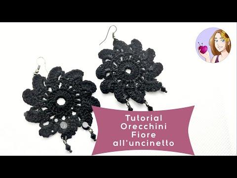 Tutorial - Orecchini fiore all'uncinetto - Come inamidare con lo smalto! (DIY crochet earrings)