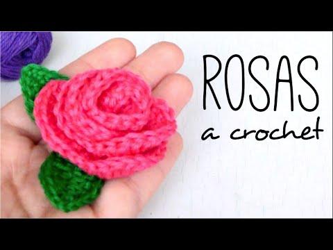 Cómo tejer ROSAS con HOJAS a Crochet - Paso a Paso