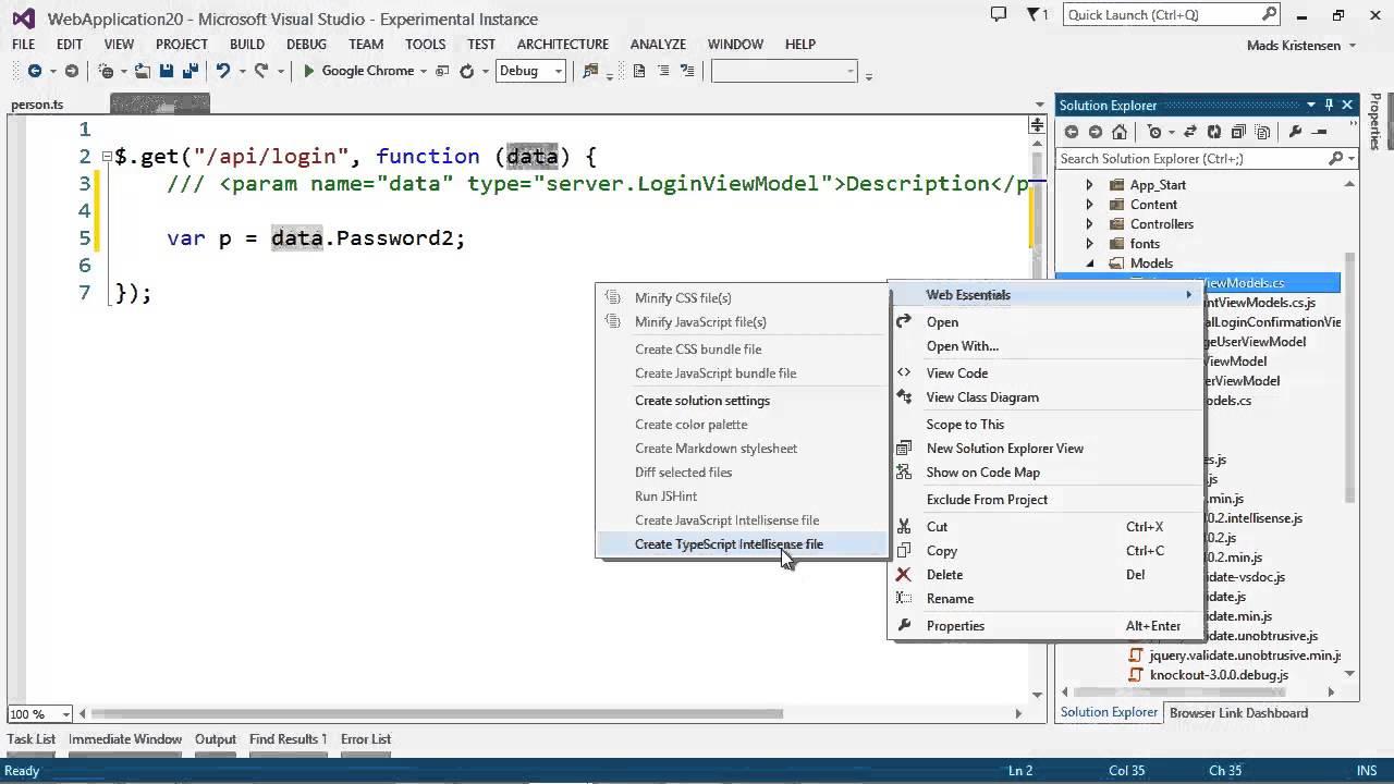Visual Studio: C# class Intellisense in JavaScript/TypeScript