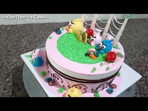 Decorate a funny Angry Birds shaped cake //65// Trang trí bánh kem hình Angry Birds ngộ nghĩnh