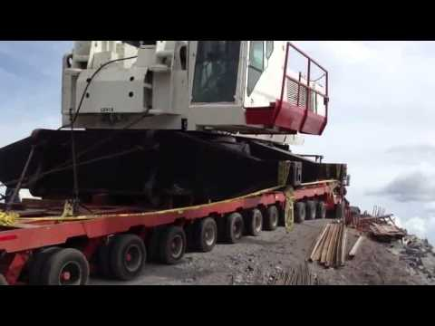 lowboy accident crane transporting