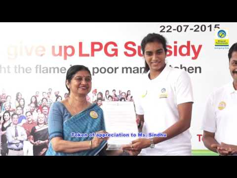 Padmasri PV Sindhu  joins the  Give it Up  Campaign in Hyderabad