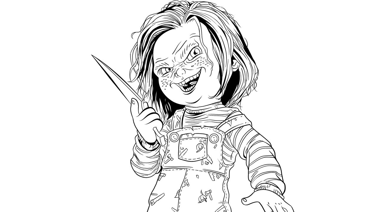 Speed Inking Chucky Child S Play Youtube Chucky Doll Coloring Pages