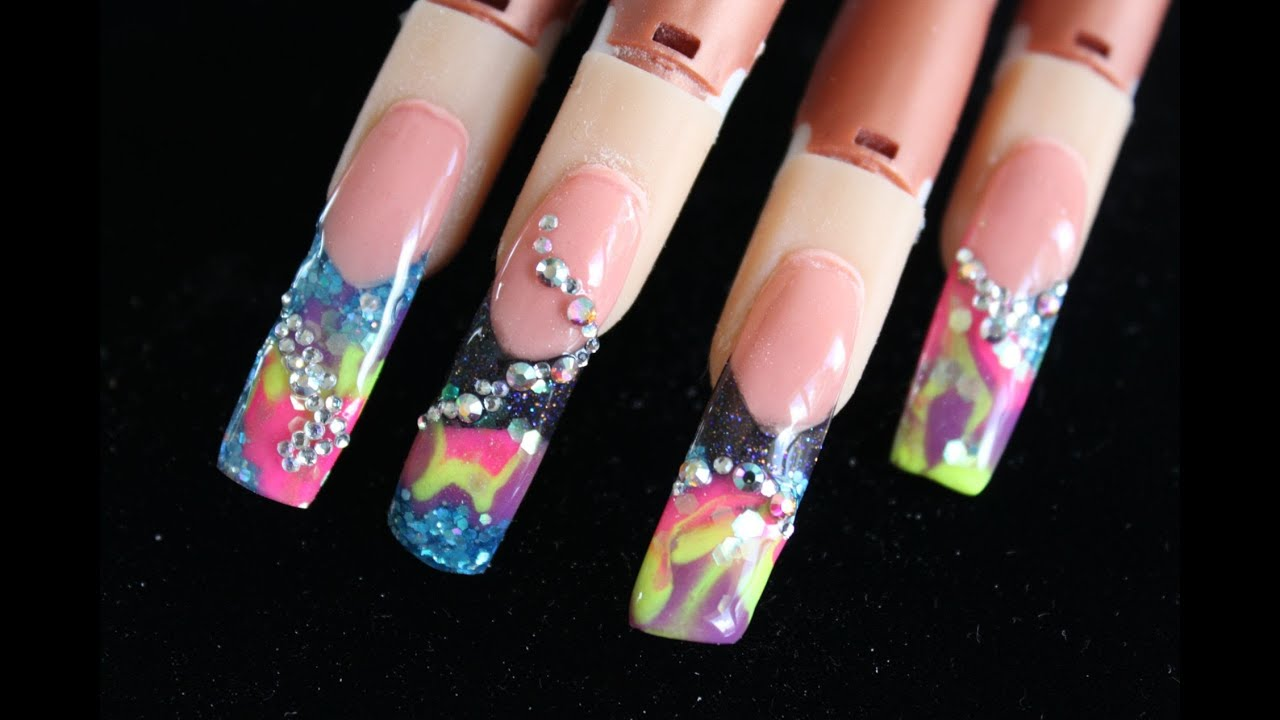 Water Marble Nail Art Tutorial Also Bubble Nail Design Blue Moreover