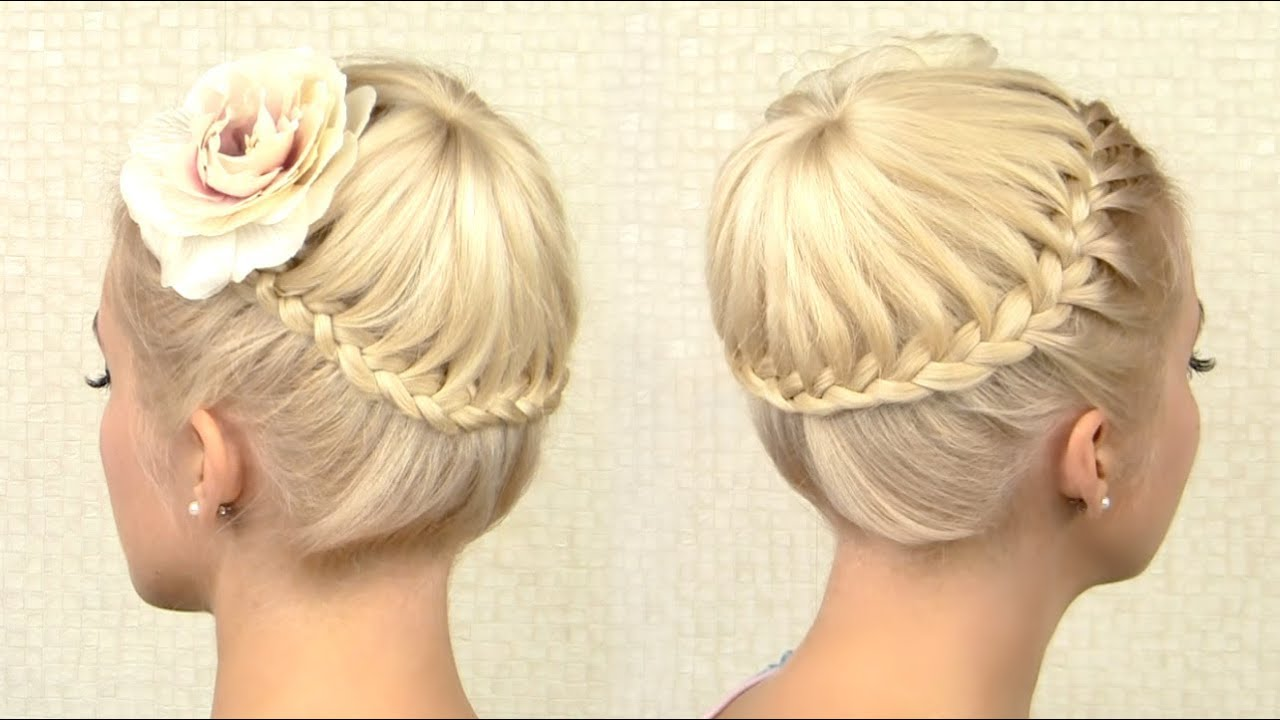 Crown braid tutorial Prom updo hairstyle for medium long hair