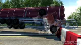 BeamNG Drive Alpha D-15 Full Size Logging Trailer Crash