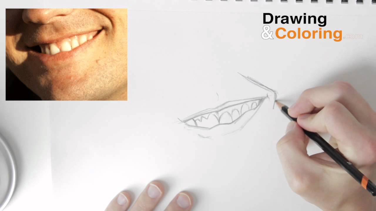 How to Draw A Smiling Mouth & Teeth Step by Step - YouTube