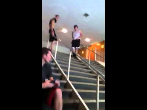 Fat guy falling down stairs