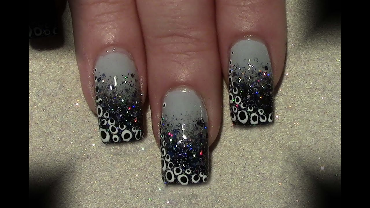 glitter gradient punkte nageldesign selber machen n gel lackieren ombre polka dots nail. Black Bedroom Furniture Sets. Home Design Ideas