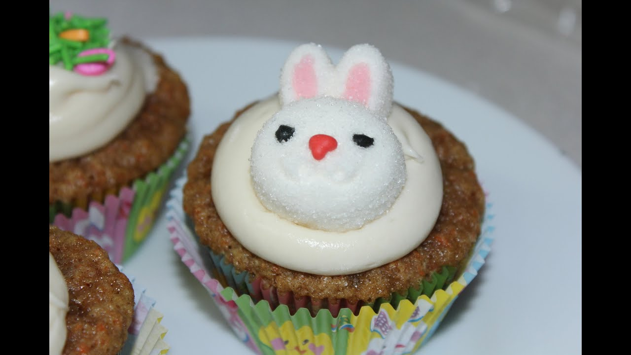 Carrot Cake Cupcakes with Cream Cheese Frosting Easter - YouTube